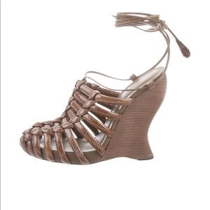 Paten leather wedge sandals new with tag